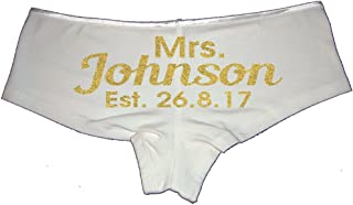 Create Your Own Personalized Mrs. Add Name Here and Custom Wedding Date Glitter Booty Shorts