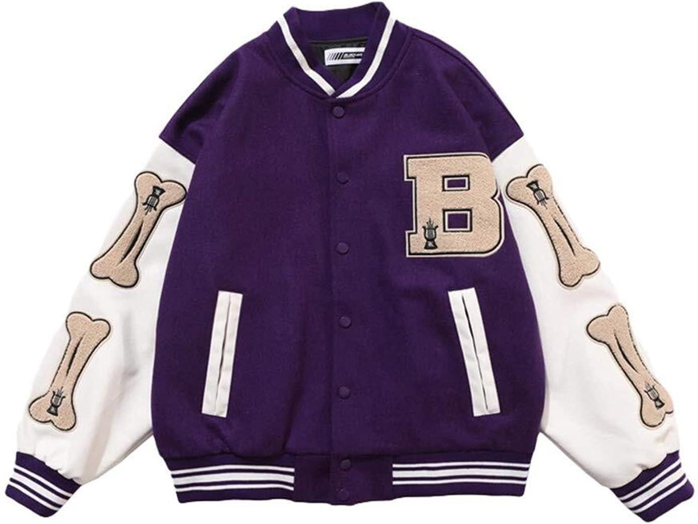 joyvio Men's Baseball Jacket Varsity Classic Casual Sweatshirt Patchwork Stand Collar Sport Outwear Tops