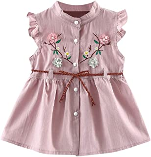 Toddler Baby Kids Girls Elegant Fly Sleeve Ruffles Collar Ruched Skirt Princess Dresses Clothes with Bownot Button
