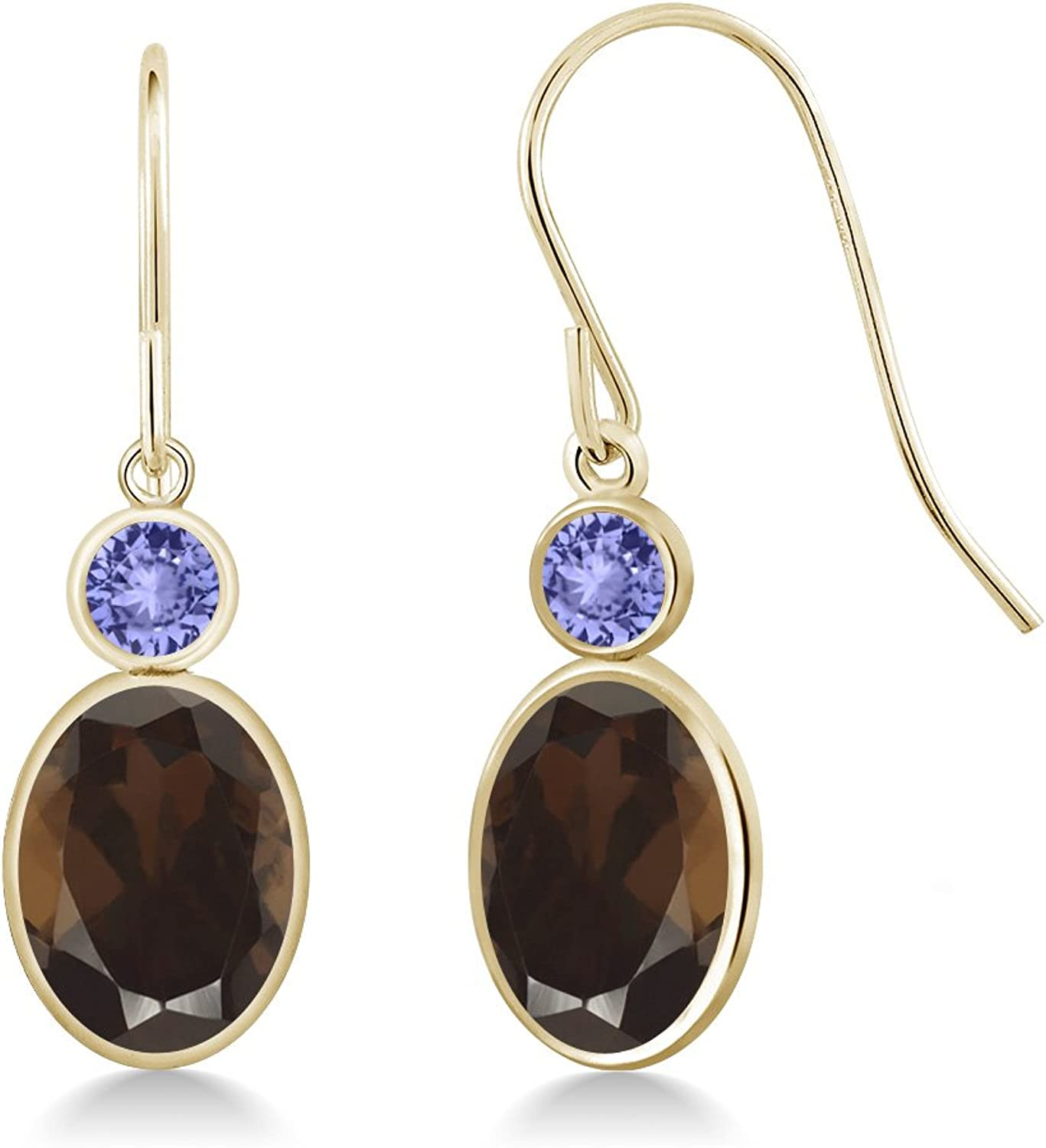 2.64 Ct Oval Brown Smoky Quartz bluee Tanzanite 14K Yellow gold Earrings