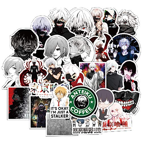 50 Pcs Tokyo Ghoul Stickers Tokyo Ghoul Anime Decals for Water Bottle Hydro Flask Laptop Luggage Car Bike Bicycle Waterproof Vinyl Stickers Pack