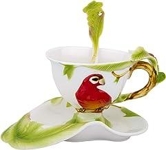 مجموعة فنجان شاي الببغاء وملعقة صحن، باستخدام السيراميك الملون وتقنية الإغاث، صندوق هدايا، مصنوع يدويًا من قبل سيد السيرام...
