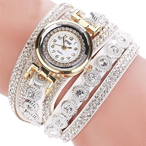 -Reloj para mujer de Sonnena, correa de metal y reloj analógico con pulsera de joyas, informal, ideal para fiestas, discotecas, regalo ideal para San Valentín, de acero inoxidable, blanco, Bracelet