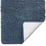 Gorilla Grip Original Luxury Chenille Bath Rug Mat, 42x24, Extra Soft and Absorbent Large Oval Shaggy Bathroom Rugs, Machine Wash Dry, Plush Carpet Mats for Tub, Shower, and Bath Room, Dusty Blue