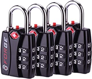 TSA Luggage Combination Lock 4 Pack - Open Alert Indicator, Easy Read Dials, Alloy Body- Ideal for Travel, Lockers, Bags