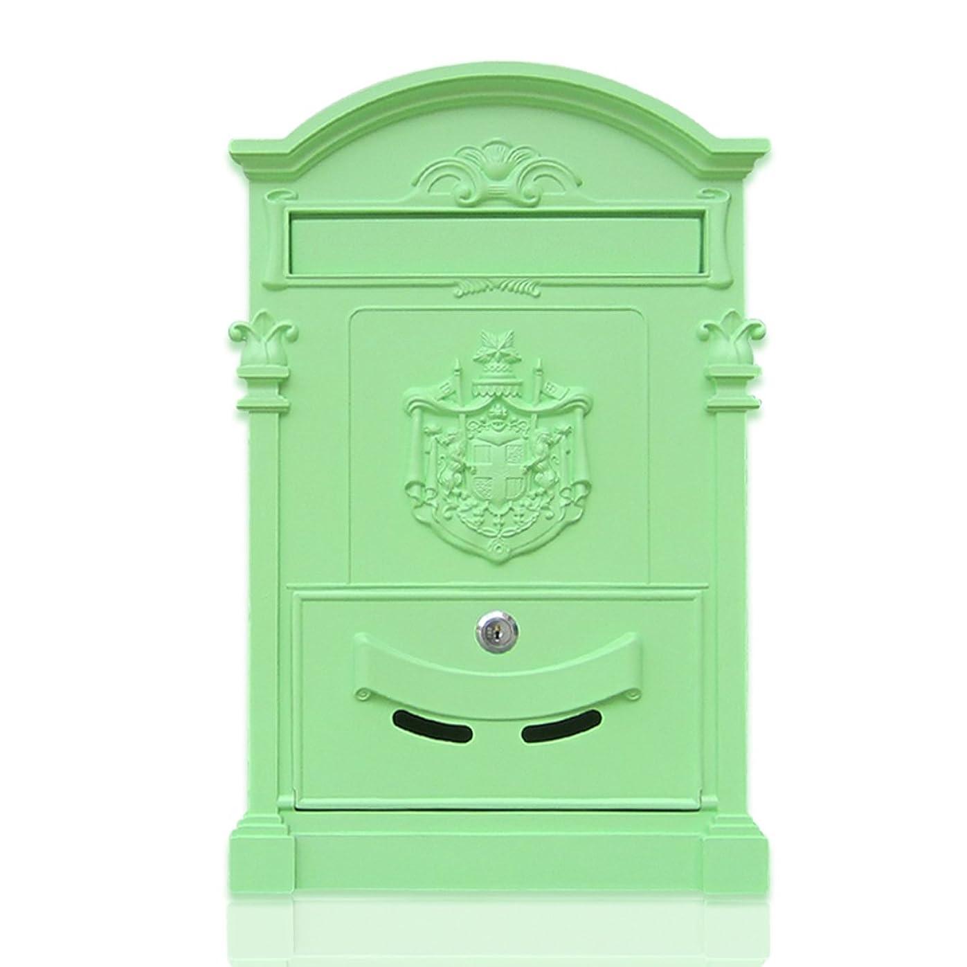 インセンティブ栄養当社HZBb ヨーロッパスタイルのヴィラ郵便受け屋外アンティークウォールタイプのメールボックス、壁の装飾、緑茶緑