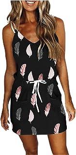 Furnnism Damen Minikleid Sommer Kleider, Ärmelloses V-Ausschnitt Frabblock Gestreift Mini Kleider T-Shirt Kleid Tasche Freizeitkleider Elegant Strandkleid Mit Kordelzug