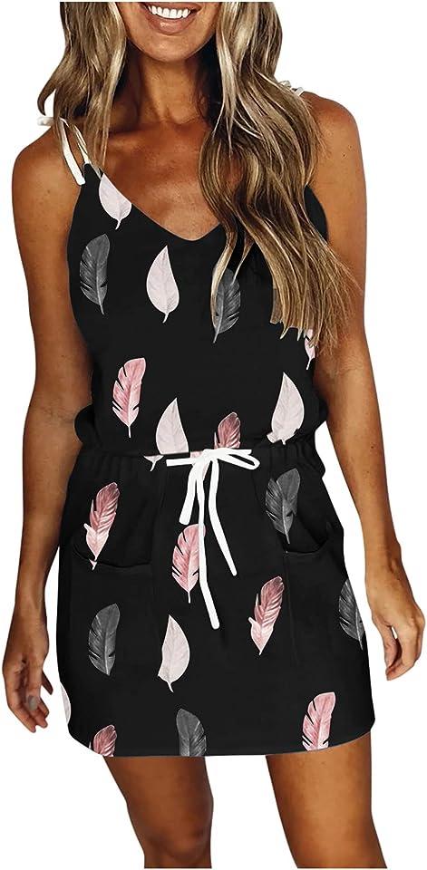 Sommerkleider für Damen lässig V-Ausschnitt ärmellos Spaghetti-Kleid Streifen Spleißen Riemen Minikleid mit Gürtel Freizeitkleider Cocktailkleid Partykleid Strandkleid Blusenkleid