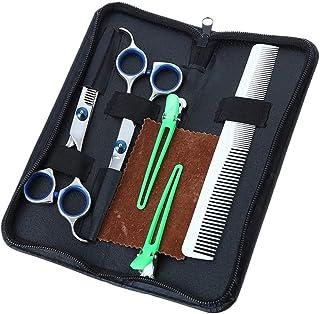 プロの理髪店/サロンシザーヘアカッティングセット、ストレートエッジカミソリシャープシザー、テクスチャーシンニングシアースタイリングヘアー、フラットシアー、ティースシアー、コーム、ヘアクリップ