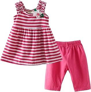 Barro Reino Little Girls 'rayas Sundress de flores y pantalón corto Outfit Rosa