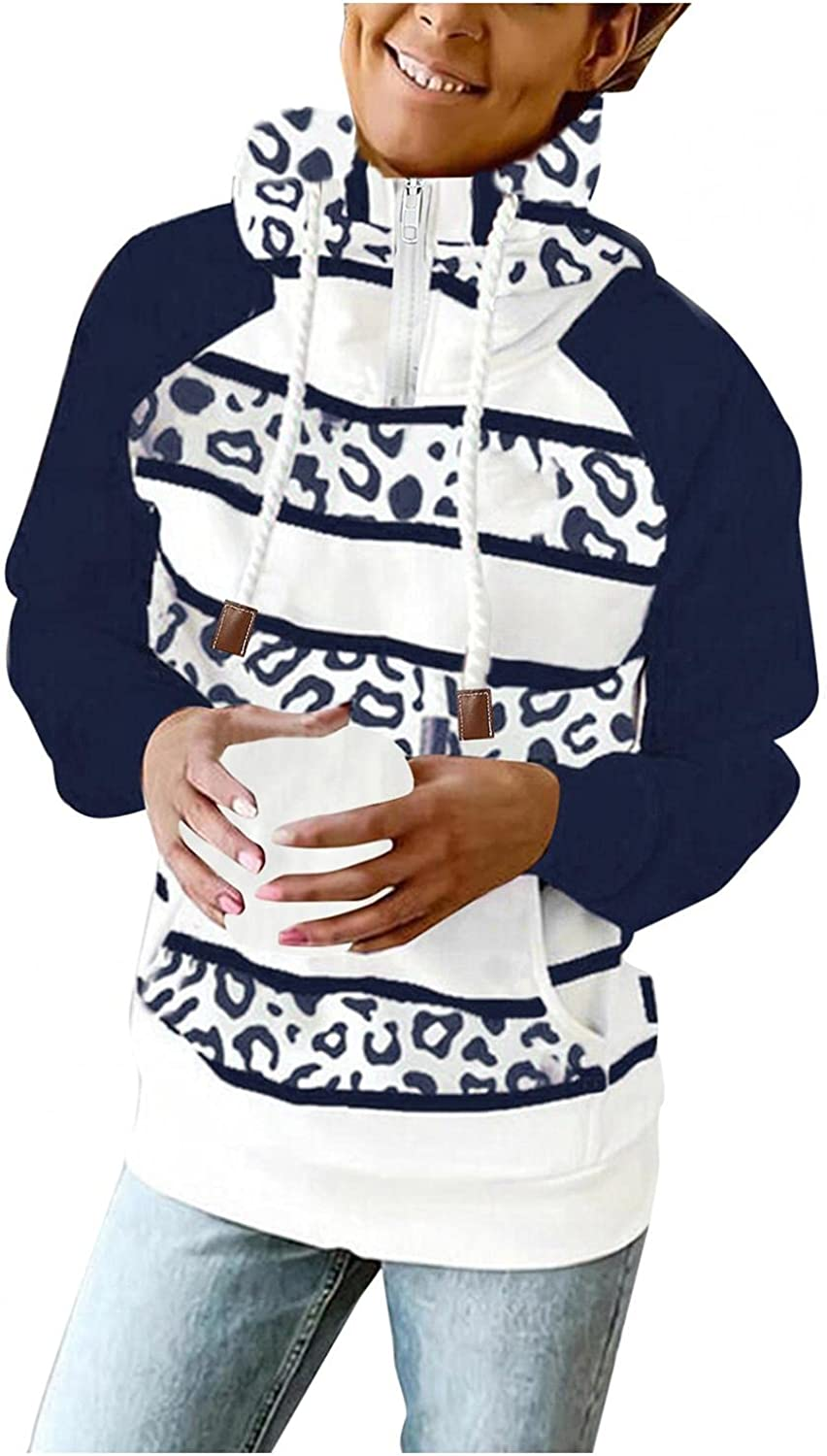 UOCUFY Hoodies for Women Zip Up,Womens 1/4 Zipper Sweatshirts Striped Printed Long Sleeve Pullover Plus Size Fall Tops