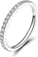 10K White/Yellow/Rose Gold Diamond 2MM Half Eternity Stackable Wedding Anniversary Band Ring