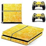 H HILABEE Skin Aufkleber Cover Für PS4 Playstation 4 Konsole und Controller Aufkleber Set - Gelb Tech