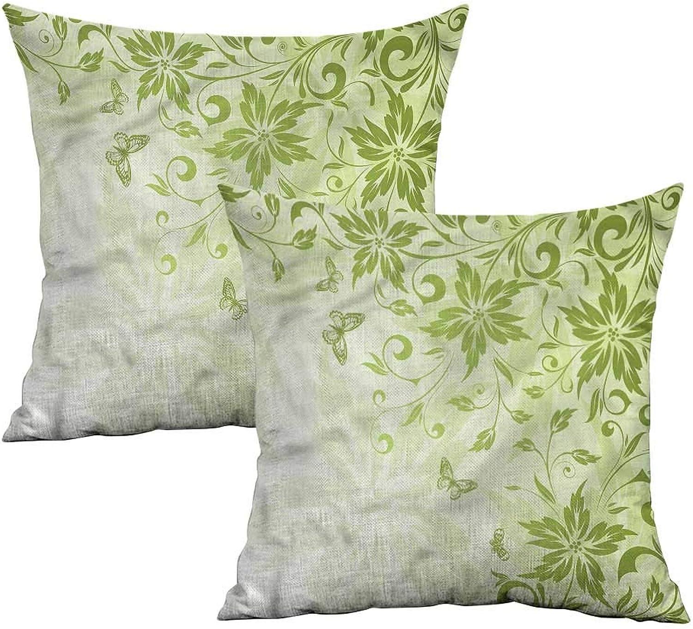 Khaki home Green Square Kids Pillowcase Butterflies Foliage Framework Square Personalized Pillowcase Cushion Cases Pillowcases for Sofa Bedroom Car W 20  x L 20  2 pcs