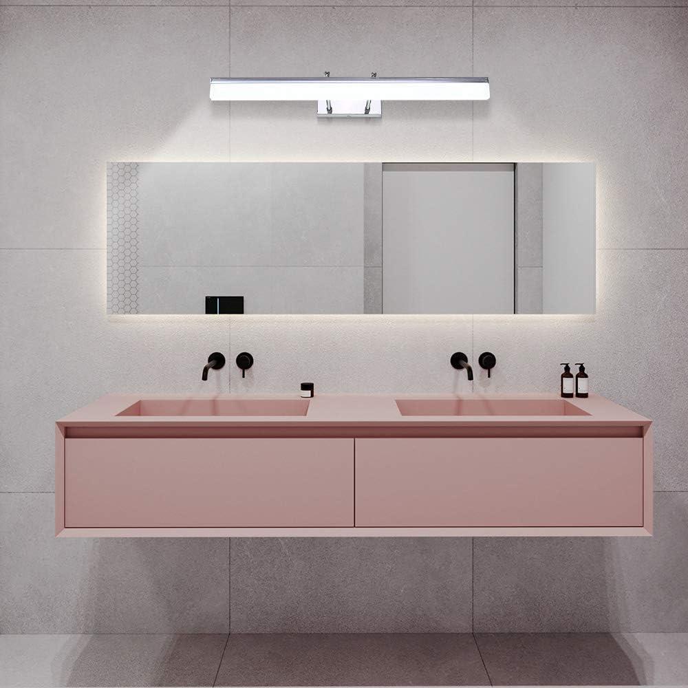 Lampe Miroir Salle de Bain,Applique Murale de Bain LED Imperm/éable,12W,60cm,IP44,Rotative 180/°en Acier Inoxydable,Lumi/ère Tableau /Étanche,/Éclairage Maquillage Blanc Froid