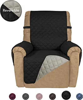 PureFit Reversible Quilted Recliner Sofa Cover, Water Resistant Slipcover Furniture Protector, Washable Couch Cover with Elastic Straps for Kids, Dogs, Pets (Recliner, Black/Beige)