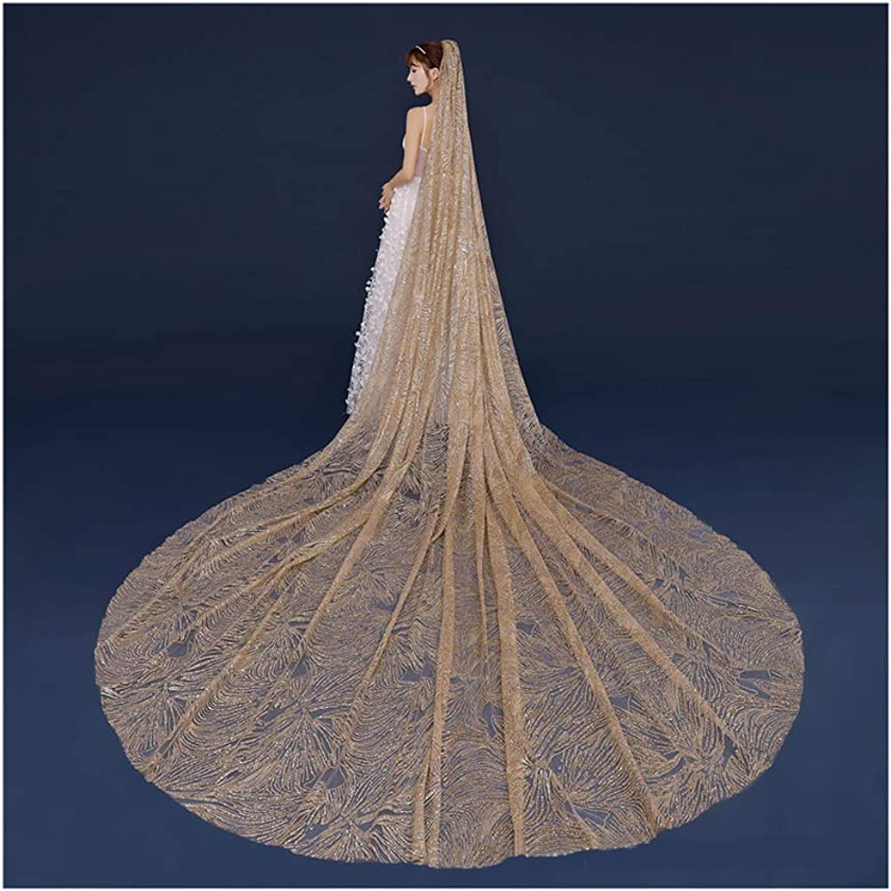 Fenghuavip Luxury Cathedral Wedding Veil Gold Sequins 1 Tier Champagne Veils for Bride with Comb