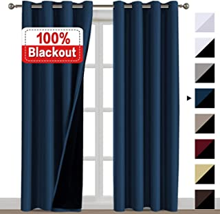 100% Blackout Curtains for Living Room Double Layer Faux Silk Curtains Room Darkening Thermal Insulated Energy Saving Grommet Window Treatment Panels (Navy, 52 by 108-inch)