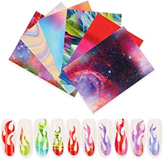 Nail Stickers Self Adhesive Volwco 6 Sheets Nail Foil Art Stickers Multicolor Aurora Flame Applique DIY Nail Decor Manicure Stickers For Birthday Party Gift Favors