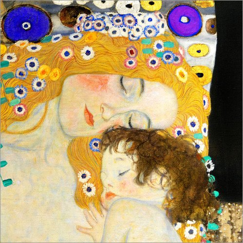 Posterlounge Lienzo 50 x 50 cm: Mother and Child (Detail) de Gustav Klimt - Cuadro Terminado, Cuadro sobre Bastidor, lámina terminada sobre Lienzo auténtico, impresión en Lienzo