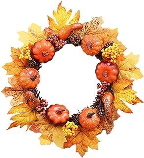 14 ``ハロウィーンのカボチャの松かさのリース、松ぼっくりとベリーの正面玄関リース付きの秋のメープルリーフリース、クリスマスの感謝祭の装飾