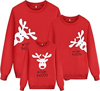WenaZao Ugly Christmas Sweatshirt for Family Cute Reindeer Print Kids Mama Dad Matching Outfit