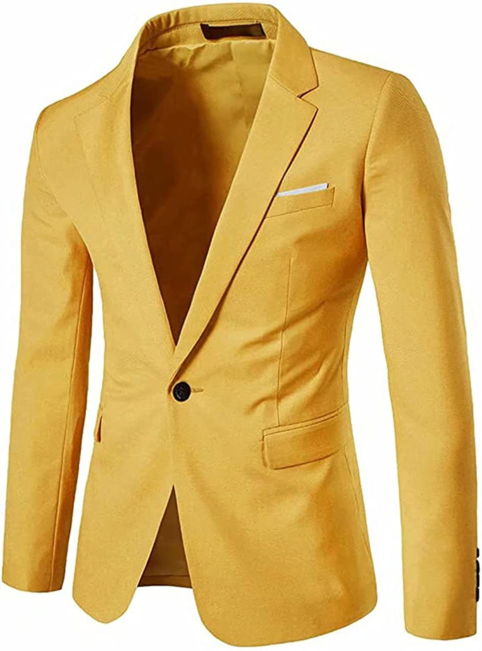 1 Pcs Men's Formal Jacket,One Button Slim Fit Blazer Sport Coat for Business Daily