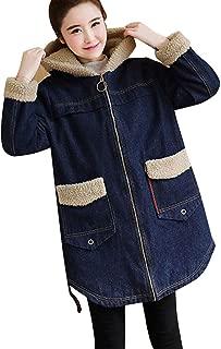 Women 's Winter Sherpa Lined Denim Jacket Windbreaker Trucker Jacket,Hooded Long Coat Outwear Overcoat