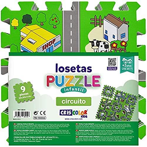 CRISCOLOR Losetas Puzzle Circuito 30x30cm. 9 Piezas