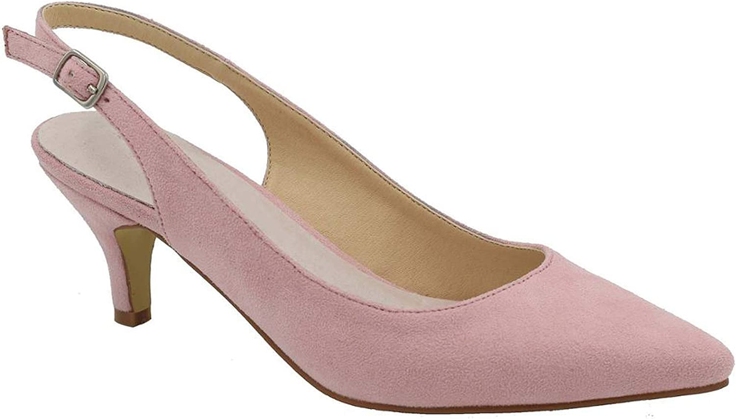 Dendrobium Women High Heels Pointed Toe Classic Slingback Pumps Sexy Ladies Dress Court Formal shoes,Pink,7
