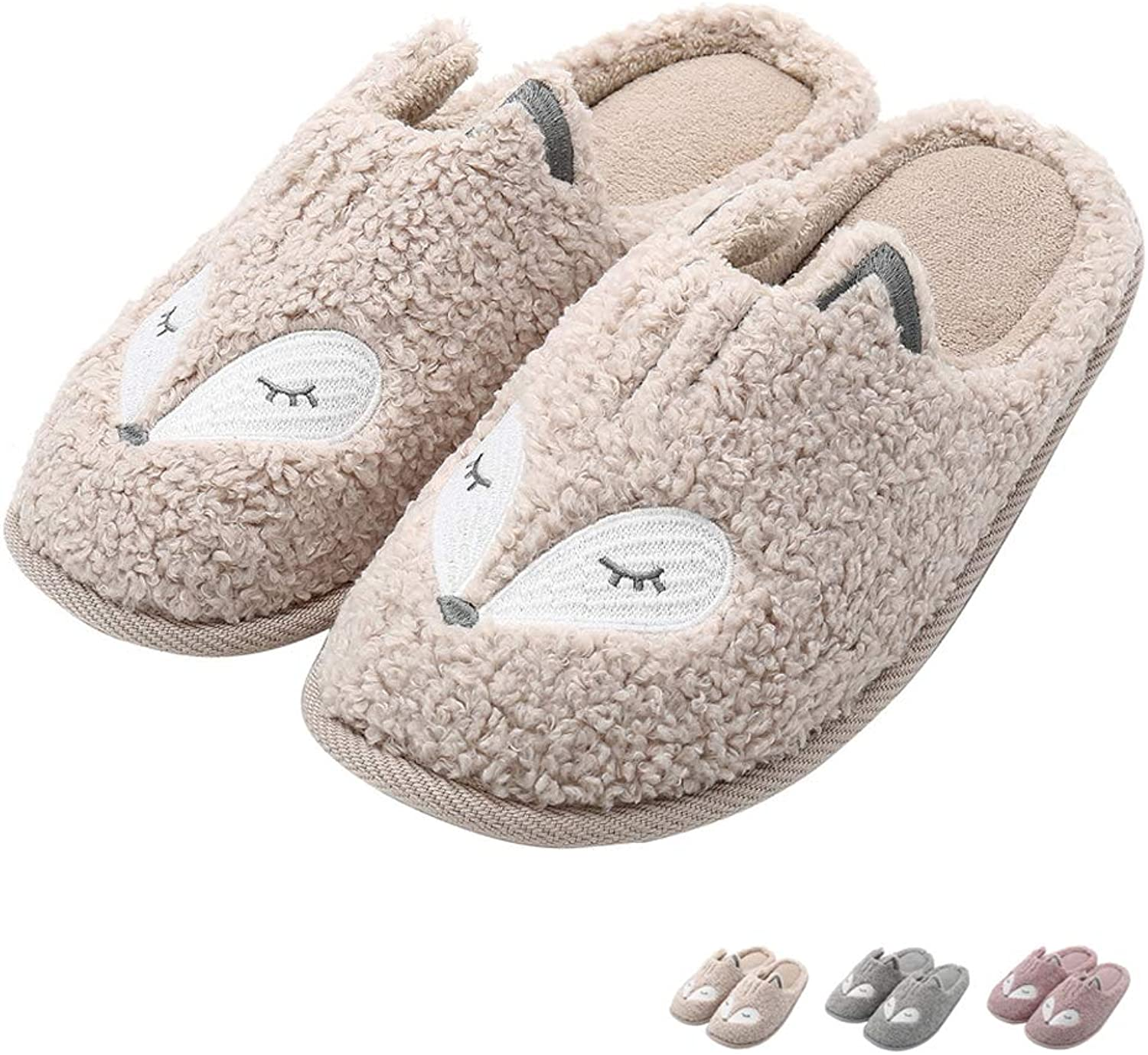 Women Warm Knit Wool Slippers Soft Plush Fleece Leather House Slippers Slip On Memory Foam Clog Home Indoor Slippers