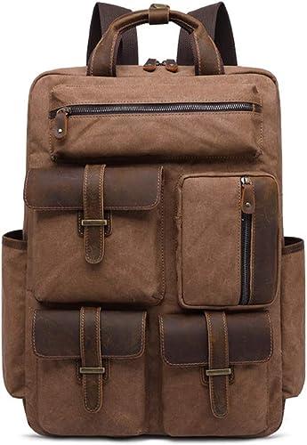 Sac à dos pour ordinateur portable unisexe, toile vintage 15,6 pouces sac d'ordinateur, voyage en plein air imperméable occasionnel Daypack Collège Camping Trekking randonnée sac à dos