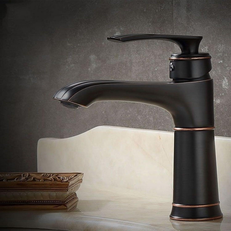 Rmckuva Bathroom Sink Taps Bathroom Sink Faucet Retro Single Handle Faucet Brass Blender Hot & Cold Water Black-02
