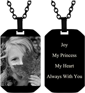 Free Engraving Photo Text Dogtags Pendant Custom Your Picture Message Necklace Birthday Mother's Day