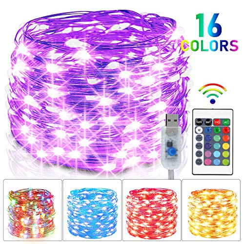5M 50 LED Bunt Lichterkette Außen, 16 Farben USB Kupferdraht Lichterkette Innen mit Fernbedienung & 4 Modi, Wasserdichte IP65 Farbwechsel Lichterkette für Zimmer, Weihnachten, Party, Hochzeit