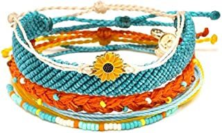 Waterproof String Sunflower Charm Bracelet Handmade Seed Beads Friendship Bracelet