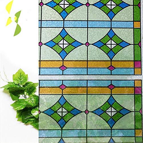 Vinilo verde estático para ventana, 60 x 400 cm, autoadhesivo, para el hogar, la cocina, la lámina decorativa de cristal, con efecto de privacidad