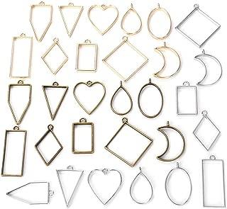 Resin Pendant Necklace Crafts DIY iSuperb 8 pcs Resin Jewelry Making Kit Sandalwood Wooden Frame Mold Accessories Wooden Resin Kit for Jewelry Making Supplies