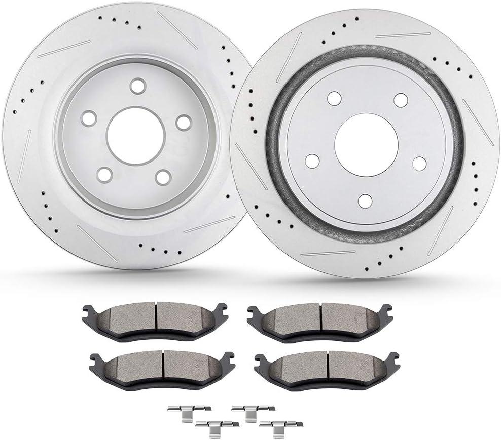 ECCPP 2pcs Rear Discs trust Brake Translated Rotors and Ceramic P 4pcs Disc