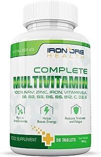 Multivitaminas completas | Multivitaminas, Zinc, Hierro y Magnesio | 90 Cápsulas | Suministro para 3 Meses | Fabricado en el Reino Unido por Iron Ore Health