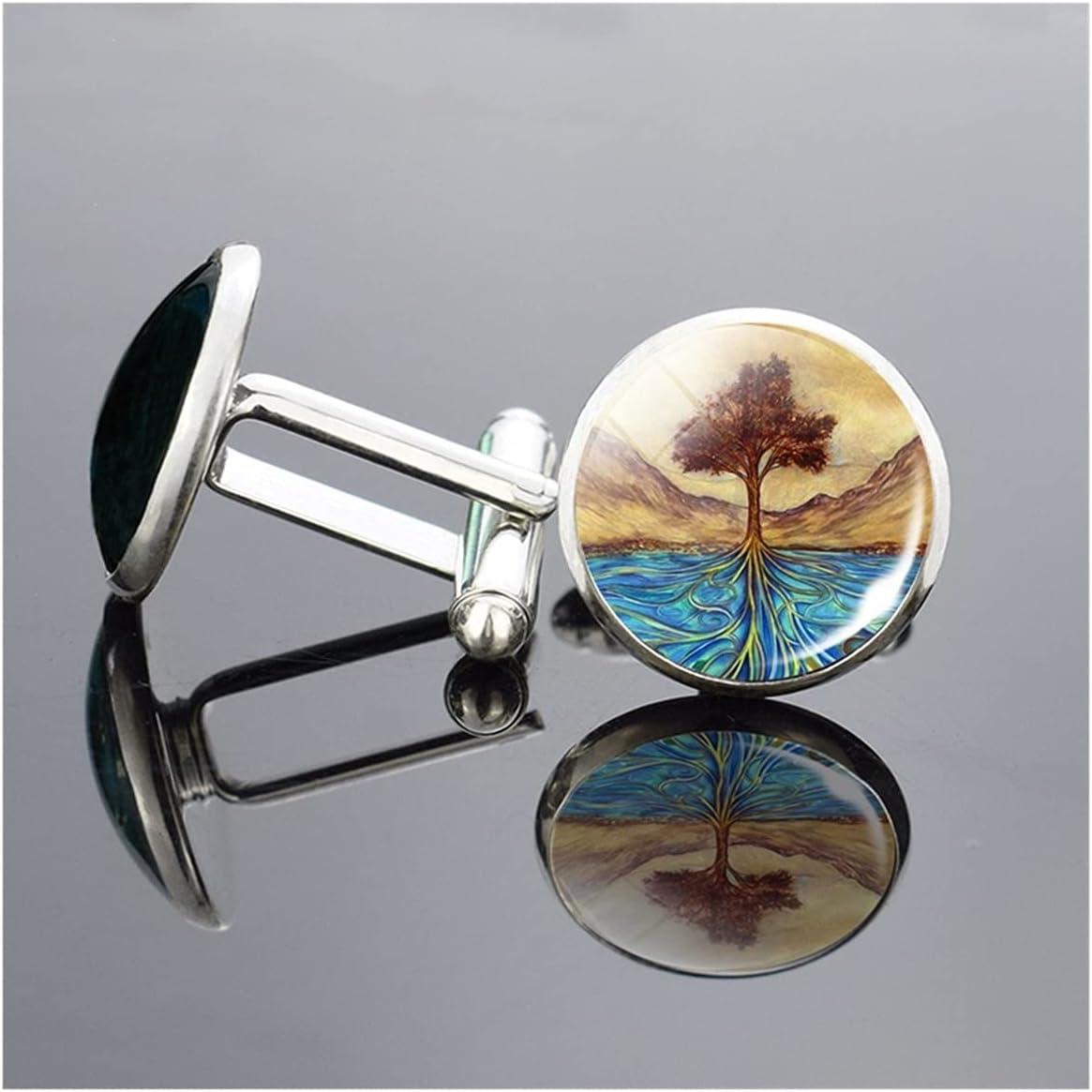 WAZG SYBLD Cabochon Tree of Life Cufflinks (Metal Color : 7)