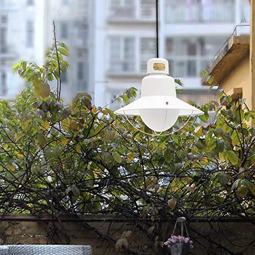 Outdoor Pendelleuchte, industrielle Retro Angelschnur Glas hängende Leuchte mit schmiedeeisernen Pendelleuchten für Veranda Pavillon Korridor Patio,C