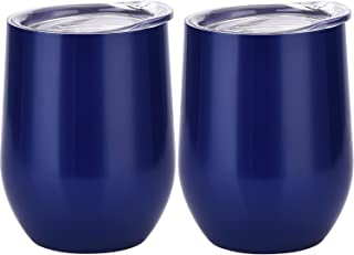 Skylety 12 oz Double-insulated Stemless Glass, Stainless Steel Tumbler Cup with Lids for Wine, Coffee, Drinks, Champagne, Cocktails, 2 Pieces (Navy Blue)