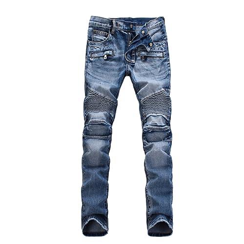 PGXT Mens Runway Stretch Jeans, Washed Acid Light Blue Biker Jeans 36