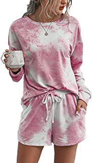 Women Nightclothes Tie Dye Printed Pajamas Set Long Sleeve Top with Shorts 2 Pieces Sleepwear.JNINTH