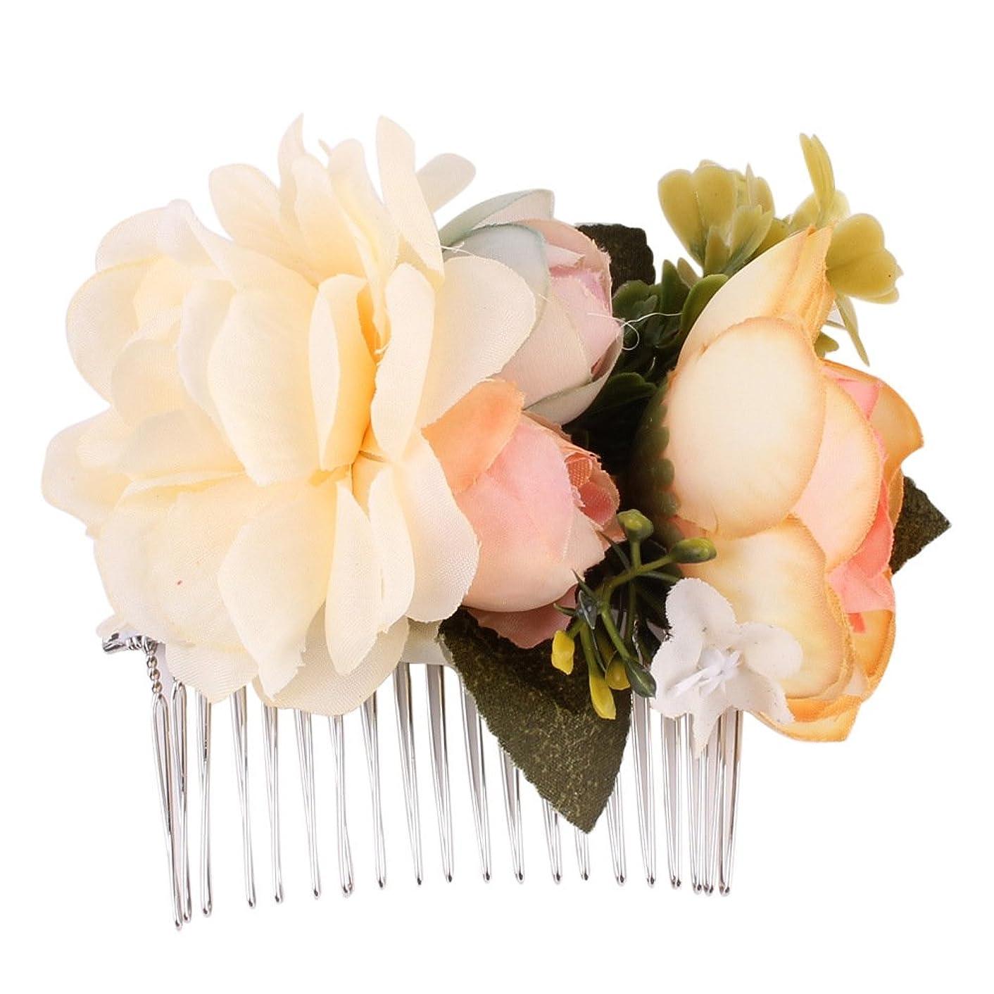 北方ミントクリーナー1st market プレミアム品質の花嫁結婚式ヘアピンクリップ櫛布花花嫁介添人ヘアスタイリングアクセサリー、ベージュ