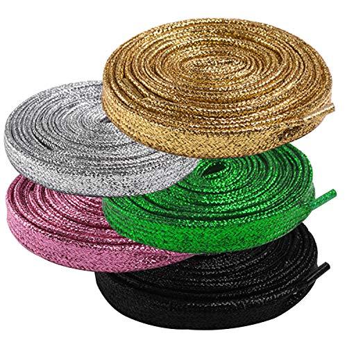 OUOU - Cordones Planos de Color Liso Brillante con Purpurina de 42 Pulgadas, Cordones Planos para Zapatillas Deportivas – 5 Pares