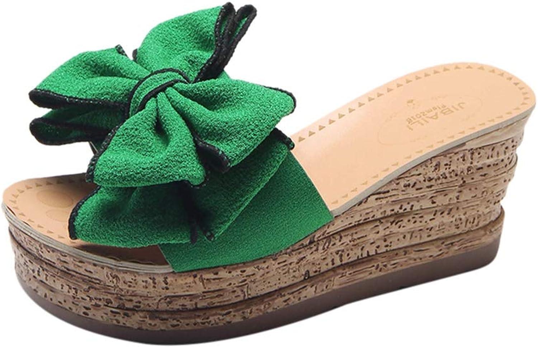 Zarbrina Women Flip Flops Ladies Summer Platform Thong Wedge Beach Slipper Knot Bow Solid color Kitten Heels shoes