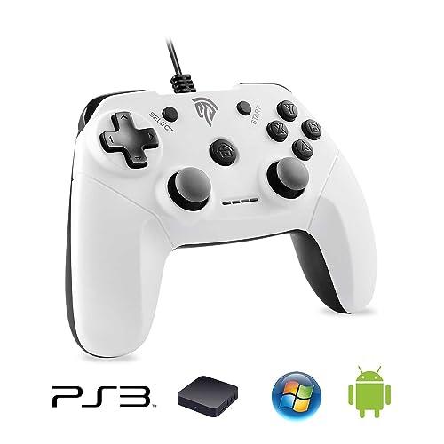 EasySMX Controlador de Juego con Cable, Vibracion Dual, USB Conexión, Función Turbo y