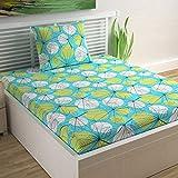 Divine Casa Sense Cotton 104 TC Single Bedsheet with Pillow Cover - Floral, Turquoise Blue